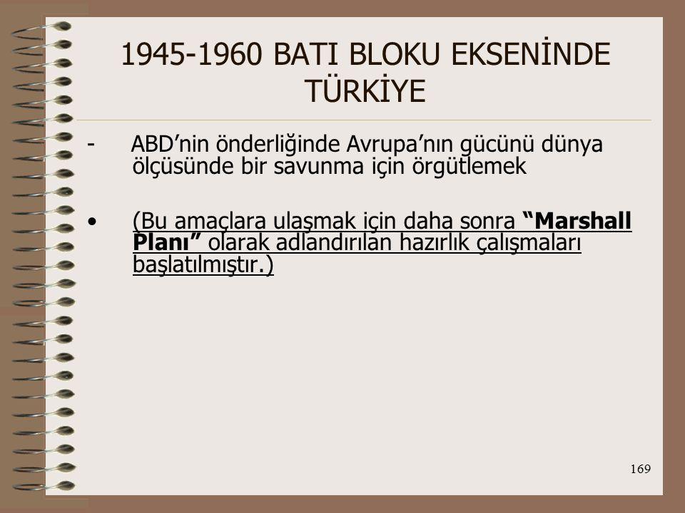 170 1945-1960 BATI BLOKU EKSENİNDE TÜRKİYE Türk Dış Politikası açısından; TC-ABD arasında sıcak ilişkilerin gelişmesine ve Sovyet isteklerinin geri çevrilmesine yardımcı olmuştur.