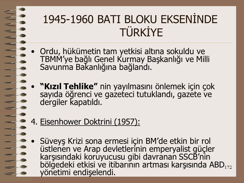 173 1945-1960 BATI BLOKU EKSENİNDE TÜRKİYE İngiltere'nin de Arap dünyasından tepki çekerek bölgedeki gücünü yitirmesi, ABD'yi bölgeye yönetti.