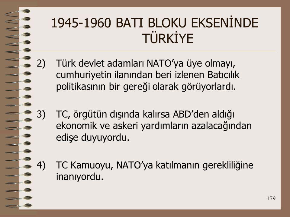 180 1945-1960 BATI BLOKU EKSENİNDE TÜRKİYE NATO'nun TC'ye karşı tutumu: NATO, TC'nin ilk başvurusunu kabul etmedi ve TC hayal kırıklığına uğradı.