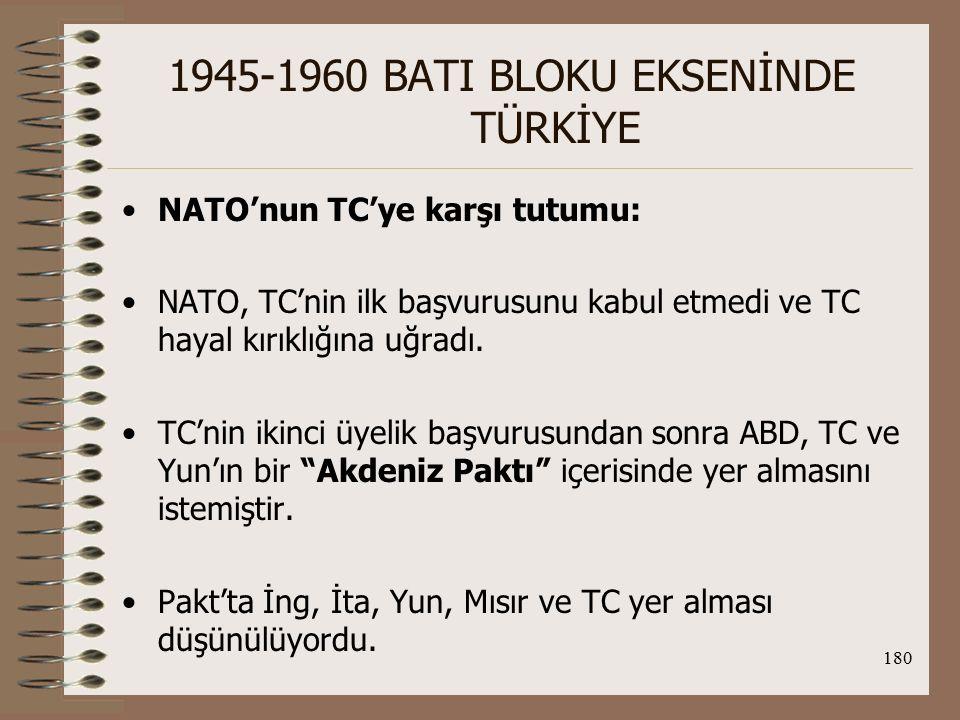181 1945-1960 BATI BLOKU EKSENİNDE TÜRKİYE Böylece, NATO üyesi olan ülkelerle NATO dışında kalan fakat ittifaka yakın ülkeler arasında Doğu Akdeniz'in güvenliğini sağlayacak bir pakt oluşturulacaktı.