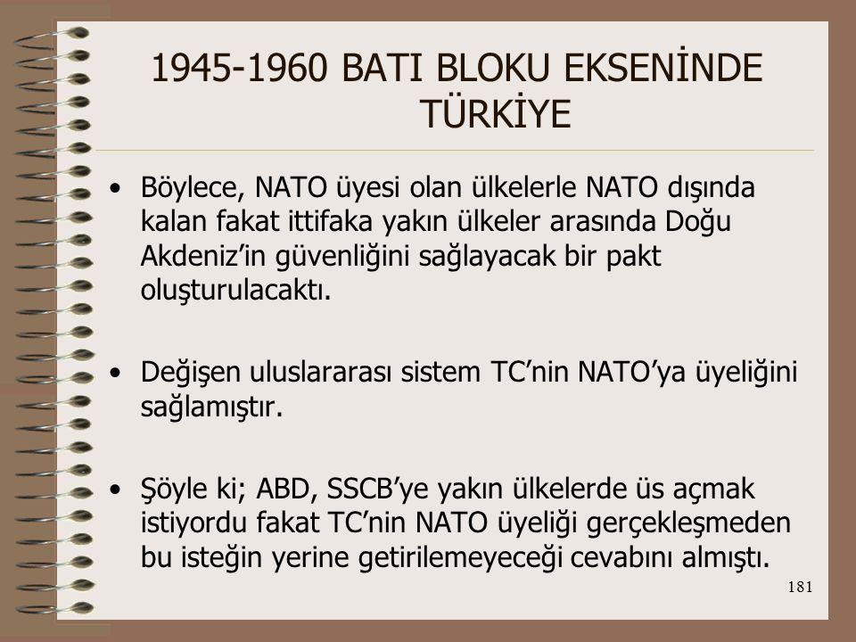 182 1945-1960 BATI BLOKU EKSENİNDE TÜRKİYE Öte yandan, Kore Savaşı ile komünizm nasıl büyük bir kampanya yürüttüyse SSCB de Avrupa ve ilk olarak TC'de böyle bir işgale girişebilirdi.