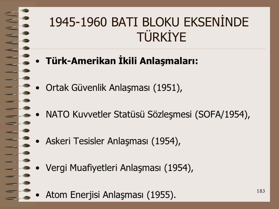 184 1945-1960 BATI BLOKU EKSENİNDE TÜRKİYE TC-Yunanistan ilişkileri: Yun., TC'nin II.