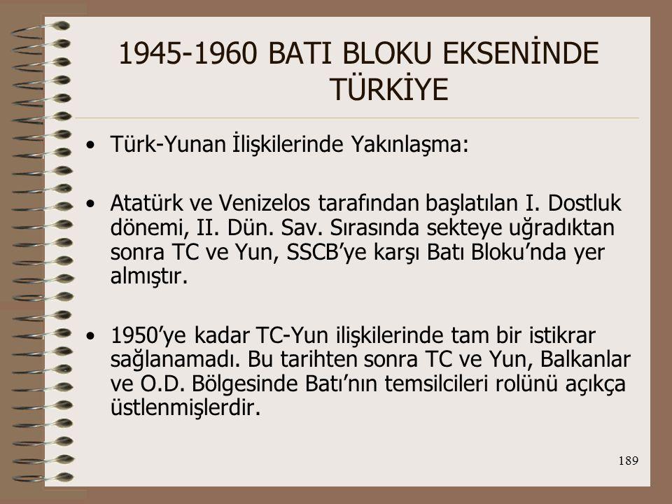190 1945-1960 BATI BLOKU EKSENİNDE TÜRKİYE Paris Barış Antlaşması (1947): On iki Adalar 7 Mart 1947'de Yun.