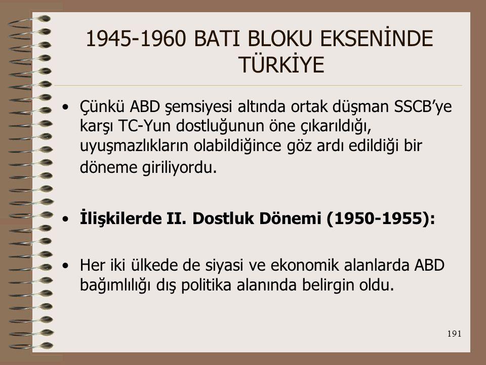 192 1945-1960 BATI BLOKU EKSENİNDE TÜRKİYE Her iki ülke de NATO ve ABD'nin anti-komünizm hareketi için stratejik bir öneme sahip olup NATO'nun güneydoğu kanadını güçlendirmek için gerekliydiler.