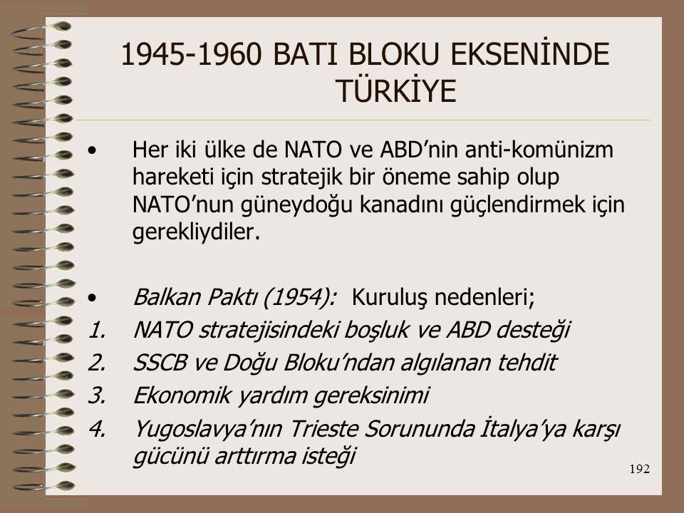 193 1945-1960 BATI BLOKU EKSENİNDE TÜRKİYE Paktta; TC, Yugoslavya Fed.