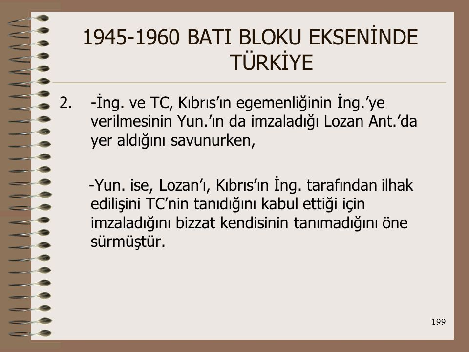 200 1945-1960 BATI BLOKU EKSENİNDE TÜRKİYE 3.-İng.