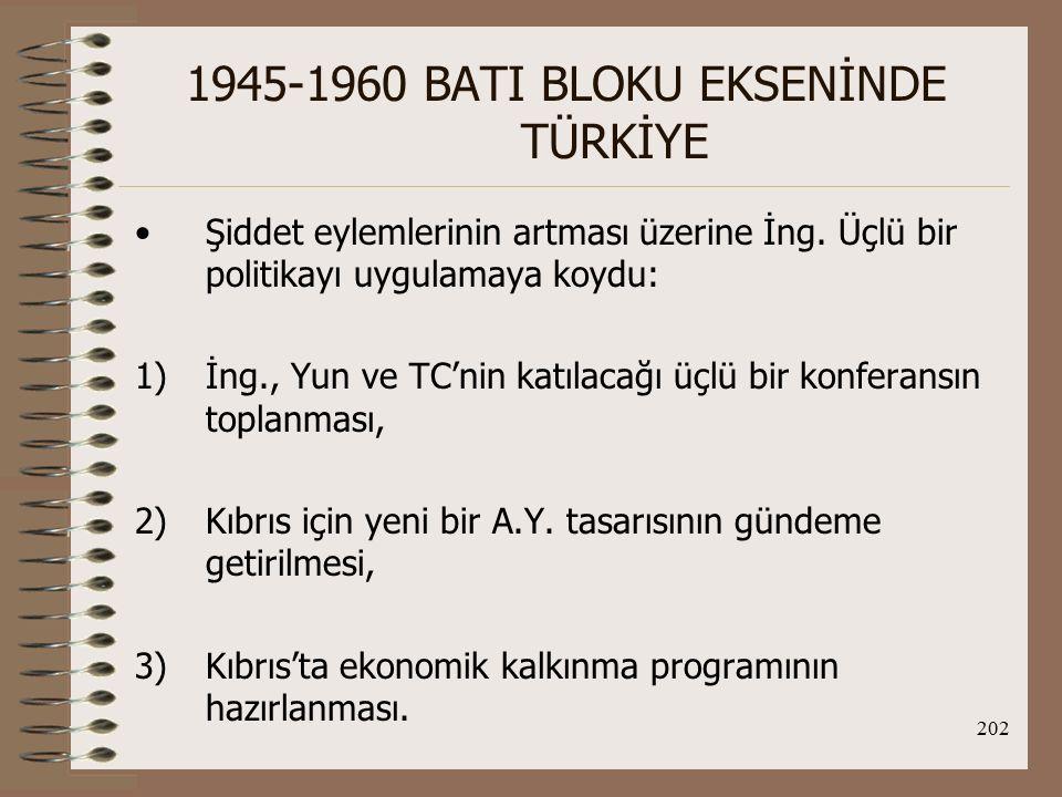 203 1945-1960 BATI BLOKU EKSENİNDE TÜRKİYE Londra Konferansı (29 Ağustos 1955): Amacı; Doğu Akdeniz'in siyasal ve savunmaya ilişkin sorunlarını görüşmek.
