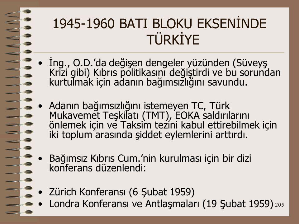 206 1945-1960 BATI BLOKU EKSENİNDE TÜRKİYE İngiliz, Türk, Yunan, Kıbrıs Rum, Kıbrıs Türk toplumları tarafından Kıbrıs Cum.'ni oluşturmak üzere imzalanan Londra Antlaşmaları şu belgelerden oluşmaktadır: Kıbrıs Cum.'nin kuruluşuna ilişkin Temel Ant.