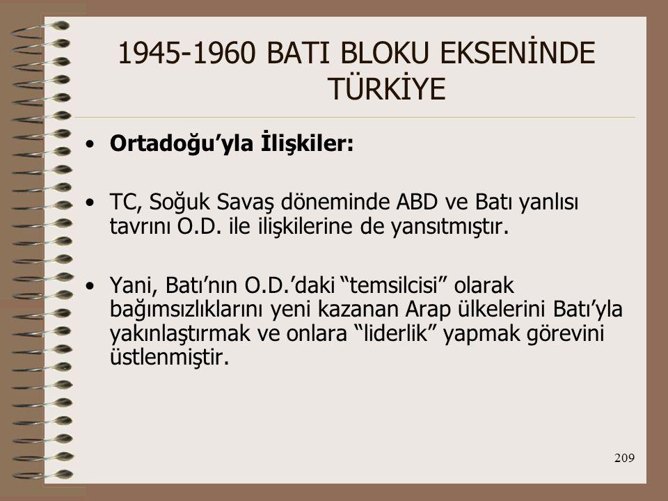 210 1945-1960 BATI BLOKU EKSENİNDE TÜRKİYE II.Dünya Savaşı sonrası TC'nin O.D.