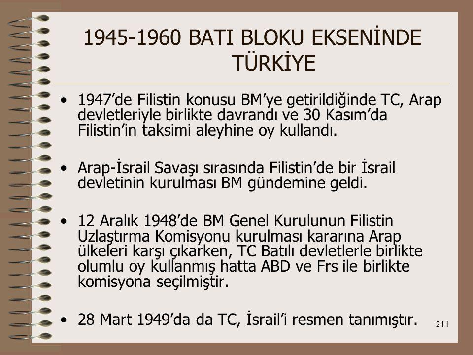 212 1945-1960 BATI BLOKU EKSENİNDE TÜRKİYE O.D.Komutanlığı Projesi: İng.
