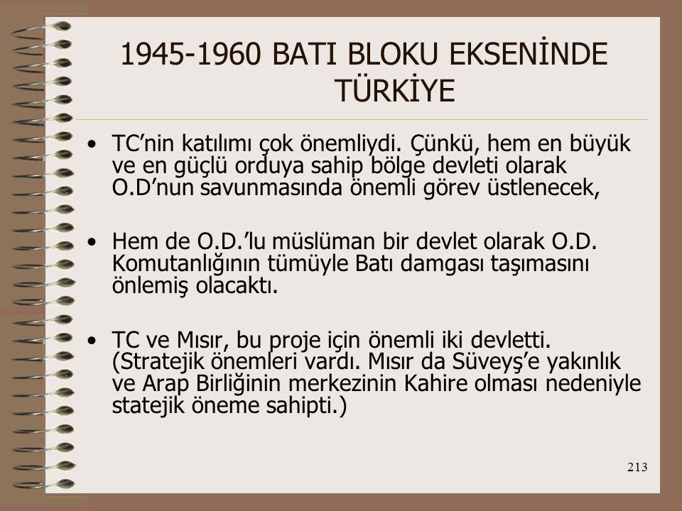 214 1945-1960 BATI BLOKU EKSENİNDE TÜRKİYE Mısır, ülkesinde İngiltere'nin işgal kuvvetlerinin varlığı nedeniyle bu projeye onay vermedi ve proje uygulanamadı.