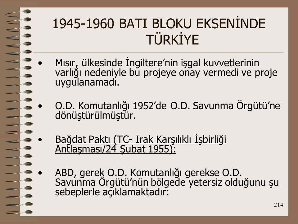 215 1945-1960 BATI BLOKU EKSENİNDE TÜRKİYE 1.Arap dünyası açısından birincil tehdit SSCB'den değil, İsrail'den gelmektedir, sadece komünist tehdidini öne çıkararak bu ülkelerle işbirliği yapma olanağı yoktur.