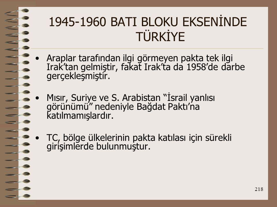 219 1945-1960 BATI BLOKU EKSENİNDE TÜRKİYE TC açısından Bağdat Paktı'nın sonuçları; 1.O.D.