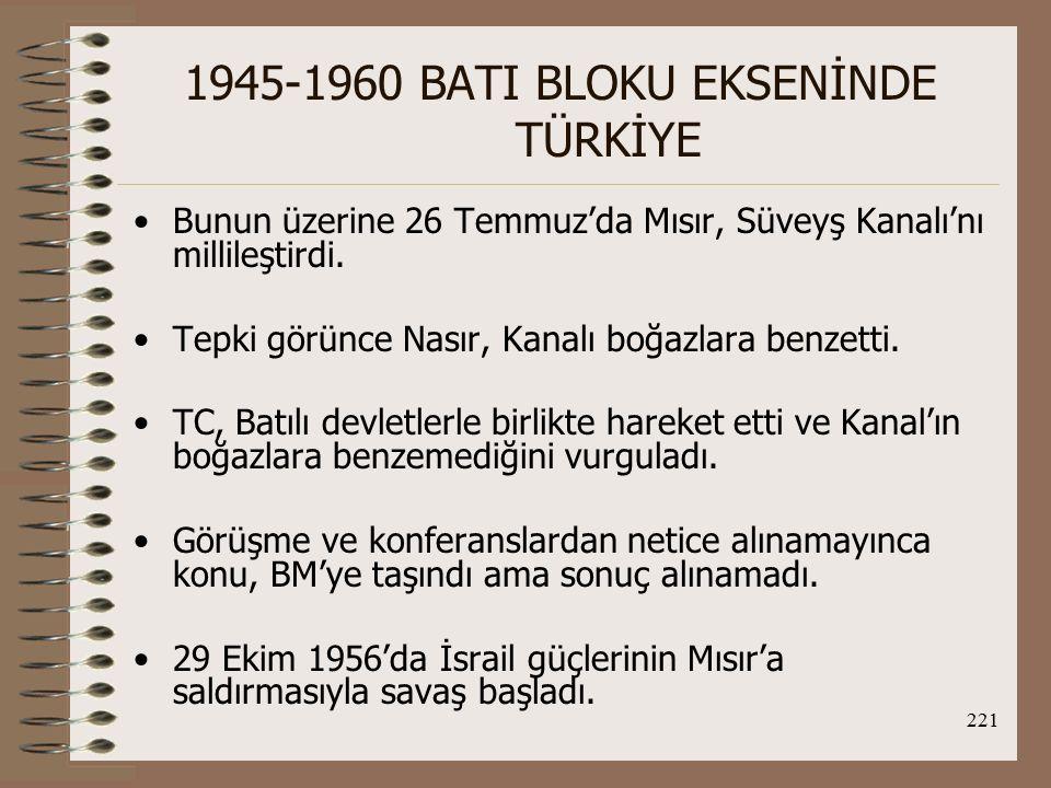 222 1945-1960 BATI BLOKU EKSENİNDE TÜRKİYE İng ve Frs, Mısır ve İsraile 10'ar mil geri çekilmeleri konusunda ultimotom verdi.
