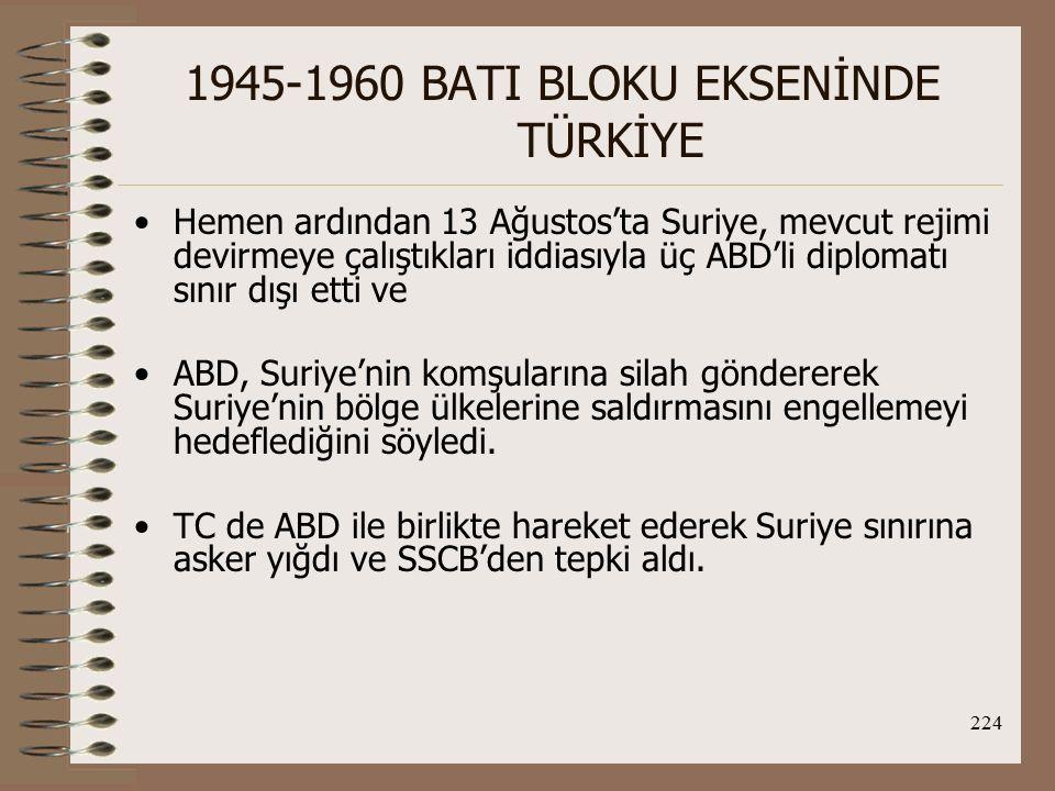 225 1945-1960 BATI BLOKU EKSENİNDE TÜRKİYE 1958 Irak Darbesi ve CENTO'nun kuruluşu: TC, önce monarşinin yıkıldığı Irak'taki darbeden rahatsız olmuş, daha sonra yumuşayarak 31 Temmuz 1958'de Irak'taki yönetimi tanımıştır.