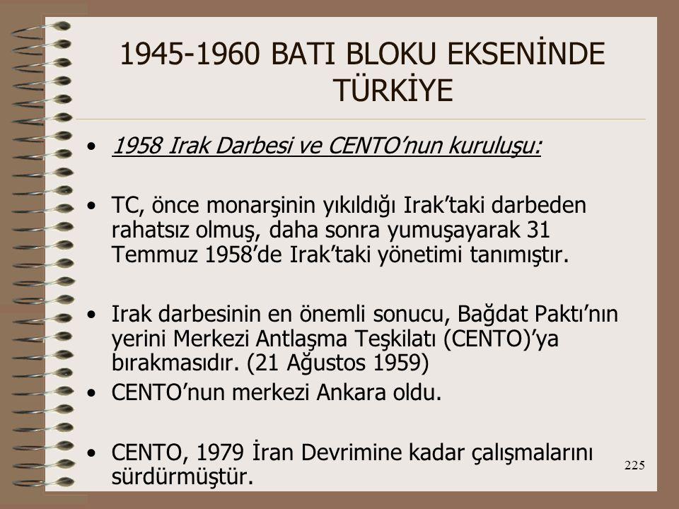 226 1945-1960 BATI BLOKU EKSENİNDE TÜRKİYE 1958 Lübnan ve Ürdün Olaylarında TC'nin Tutumu: TC, yine Batı ve ABD yanlısı tavır takınmış, İncirlik üssünün ABD tarafından Lübnan'a yaptığı çıkarma sırasında kullanılmasına izin vermiştir.