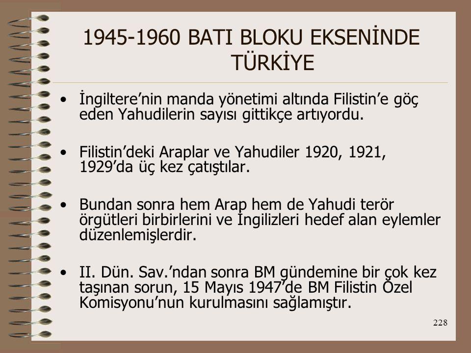 229 1945-1960 BATI BLOKU EKSENİNDE TÜRKİYE BM'de oybirliğiyle kabul edilen plana (Çoğunluk Planı) göre; 1.Manda yönetimi derhal sona erdirilecek ve Filistin bağımsızlığı kabul edilecekti.
