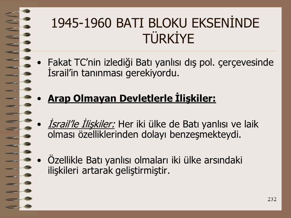 233 1945-1960 BATI BLOKU EKSENİNDE TÜRKİYE İran'la İlişkiler: 1941'de İran'ın müttefikler tarafından işgalinden 1947'nin sonuna kadar TC-İran ilişkileri dondurulmuştur.