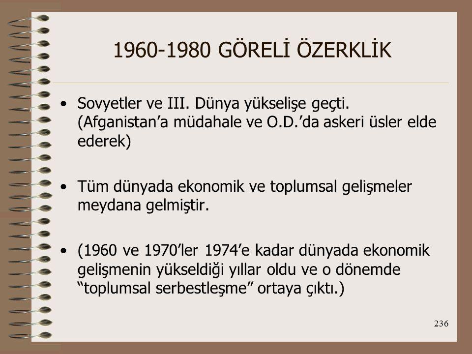 237 1960-1980 GÖRELİ ÖZERKLİK İç Ortam ve Dinamikler 27 Mayıs 1960 ve 12 Eylül 1980 Darbeleri ve 12 Mart 1971 Muhtırası, bu dönem Türk iç ve dış politikasını önemli ölçüde etkilemiştir.