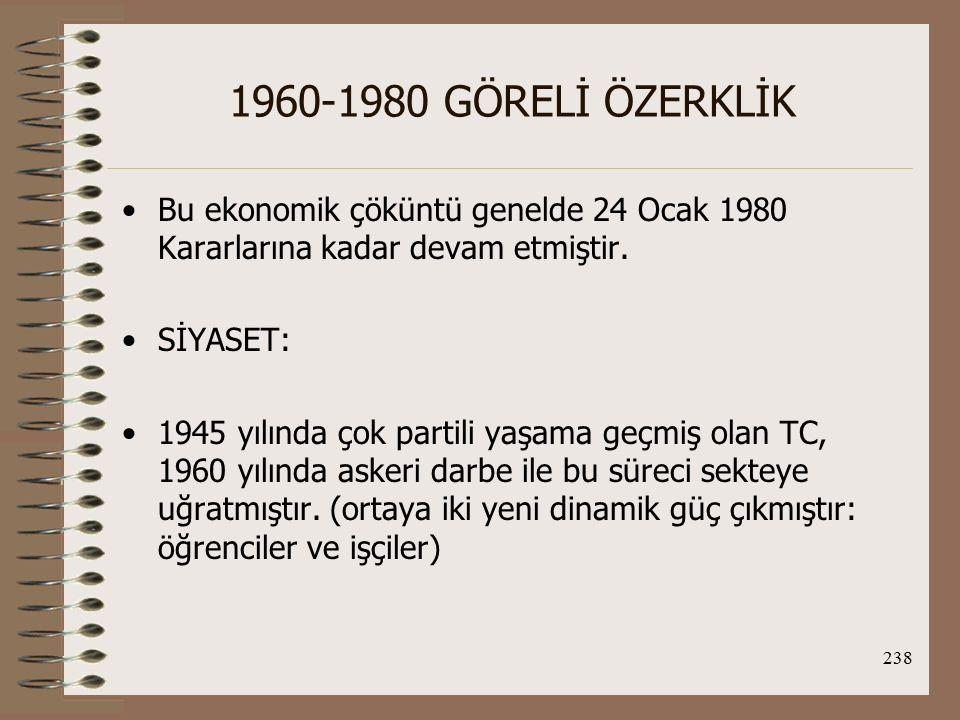 239 1960-1980 GÖRELİ ÖZERKLİK Tekrar demokratik bir ortam yakalanmak üzereyken bu kez de demokrasiye ikinci darbe 1971 ve 1980'de gelmiştir.