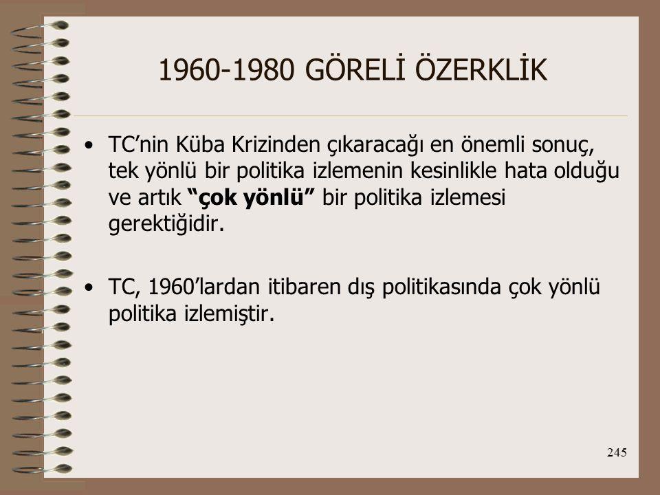 246 1960-1980 GÖRELİ ÖZERKLİK Kıbrıs Sorunu ve Johnson Mektubu döneminde ABD'yle ilişkiler: Johnson Mektubu, TC-ABD ilişkilerinin Kıbrıs eksenini temsil eder.