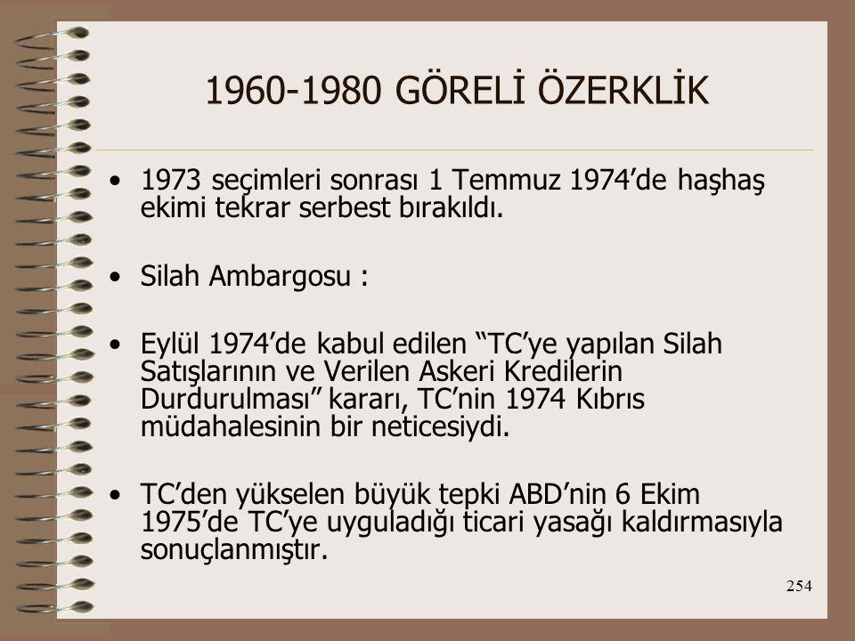 255 1960-1980 GÖRELİ ÖZERKLİK Silah ambargosu ise, 12 Eylül 1978'de tamamen kaldırıldı.