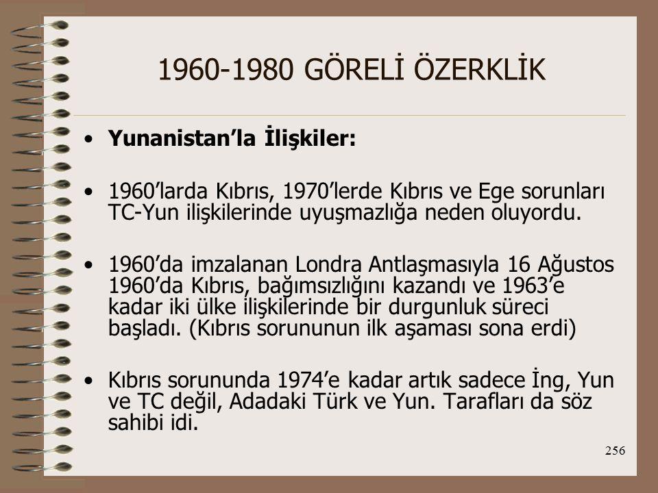 257 1960-1980 GÖRELİ ÖZERKLİK 1964 Bunalımı ve Sonuçları: 1964 bunalımının temelinde zaten yakın zamana kadar çatışma içinde olan Kıbrıs toplumları arasındaki dengenin bozulacağı anlamına gelen Makarios'un A.Y.