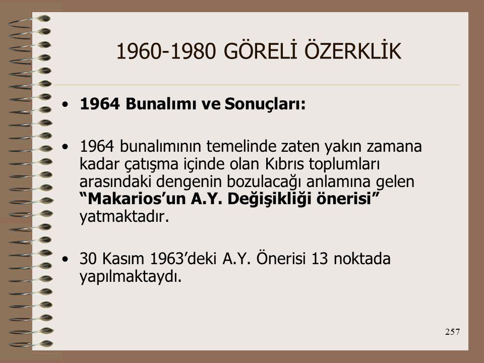 258 1960-1980 GÖRELİ ÖZERKLİK Eğer bu öneri gerçekleşirse, iki toplumun eğitliği üzerine oturtulmuş dengeli bir ortaklık söz konusu olmayacak, azınlık haklarının saklı tutulduğu üniter bir devlet yapısı oluşturulacaktı.