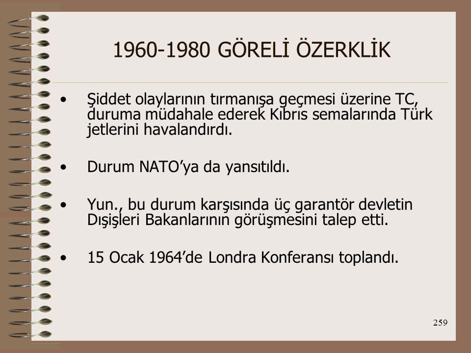 260 1960-1980 GÖRELİ ÖZERKLİK Türk tarafının çözüm önerisini Denktaş dile getirdi ve daha sonra TC'nin resmi tezi olacak şu görüşleri ileri sürdü: 1.1960 çözümü Kıbrıslı Türklerin güvenliğini sağlayamamıştır ve fiili güvencelere gereksinim duyulmaktadır.