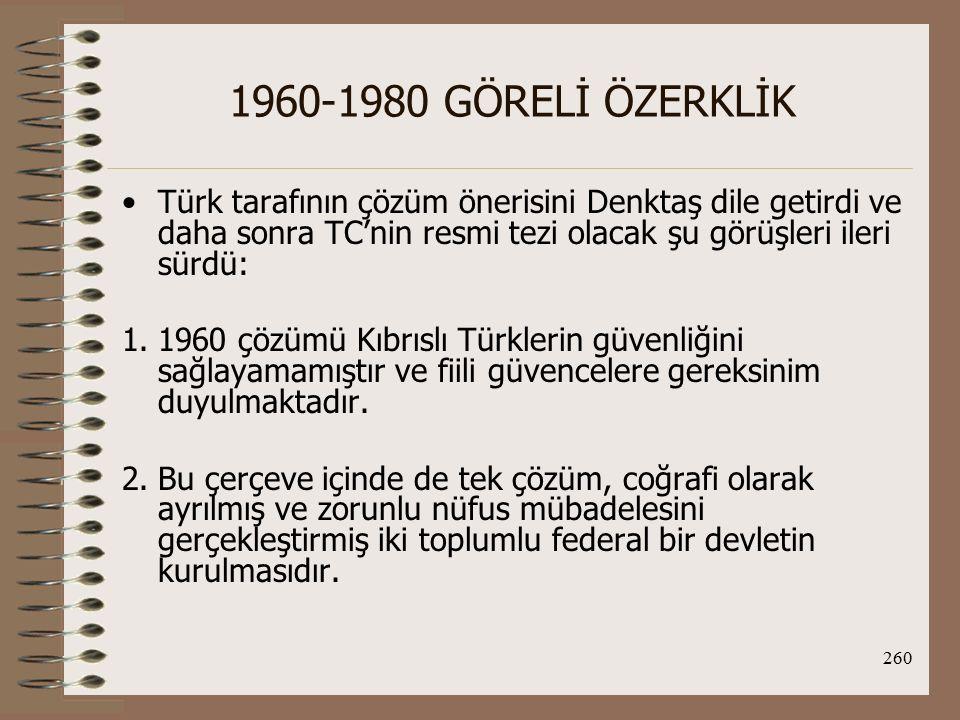 261 1960-1980 GÖRELİ ÖZERKLİK Rumlar'ın desteklediği Klerides görüşlerini şöyle ifade etmiştir; -Çoğunluğun çıkarlarına uygun ve teknik olarak uygulanması bir öncekinden daha kolay yeni bir AY.'nın hazırlanması ve yürürlüğe konması gerekmektedir.