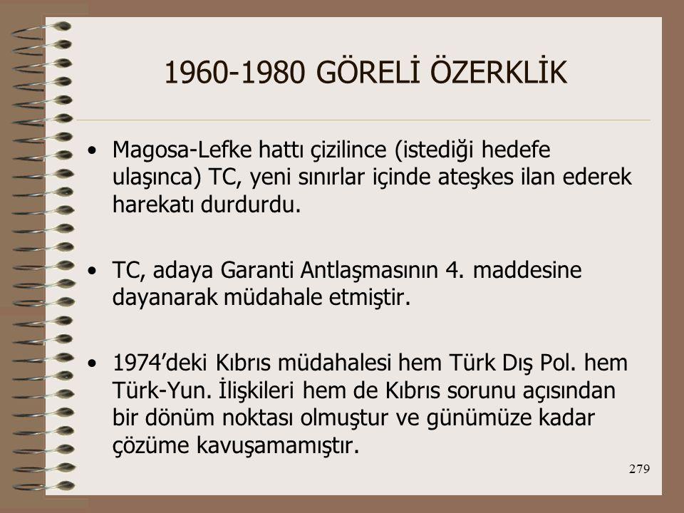 280 1960-1980 GÖRELİ ÖZERKLİK Hatta günümüzde TC'nin AB'ye üyeliği sürecinde Kıbrıs sorunu ve Rum kesiminin tanınması sorunu uluslararası ve TC gündeminde yer almaktadır.