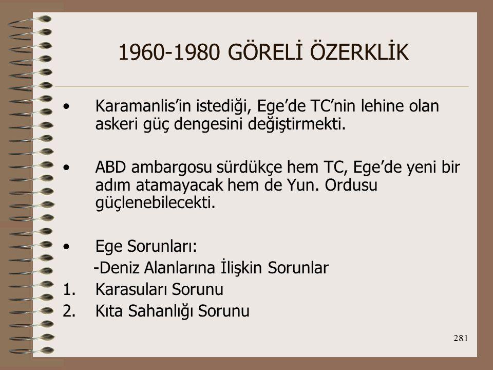 282 1960-1980 GÖRELİ ÖZERKLİK -Hava Sahasına İlişkin Sorunlar -Askeri Dengeye İlişkin Sorunlar Karasuları Sorunu: Lozan Barış Ant.'nın imzalanmasından itibaren TC ve Yun., Ege'deki karasularının 3 mil olarak belirlemişlerdi.