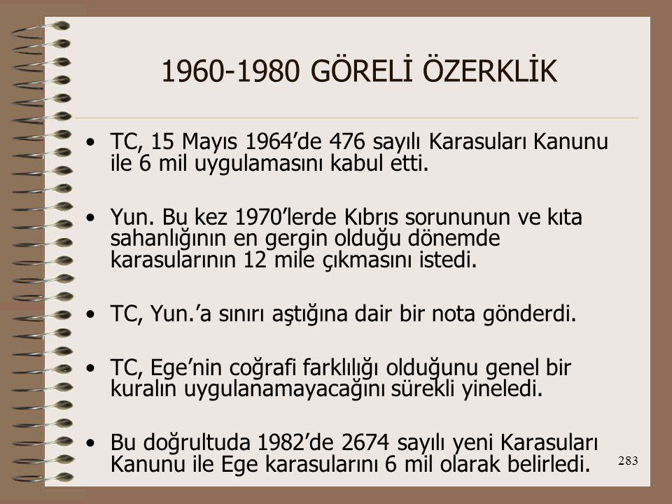 284 1960-1980 GÖRELİ ÖZERKLİK (Akdeniz ve Karadeniz'de 12 mildir) Karasuları konusunda tarafların tezleri: Yun: 1- Karasularının genişliğinin 12 mil olabileceği kuralı BM Deniz Hukuku Sözleşmesinin 3.