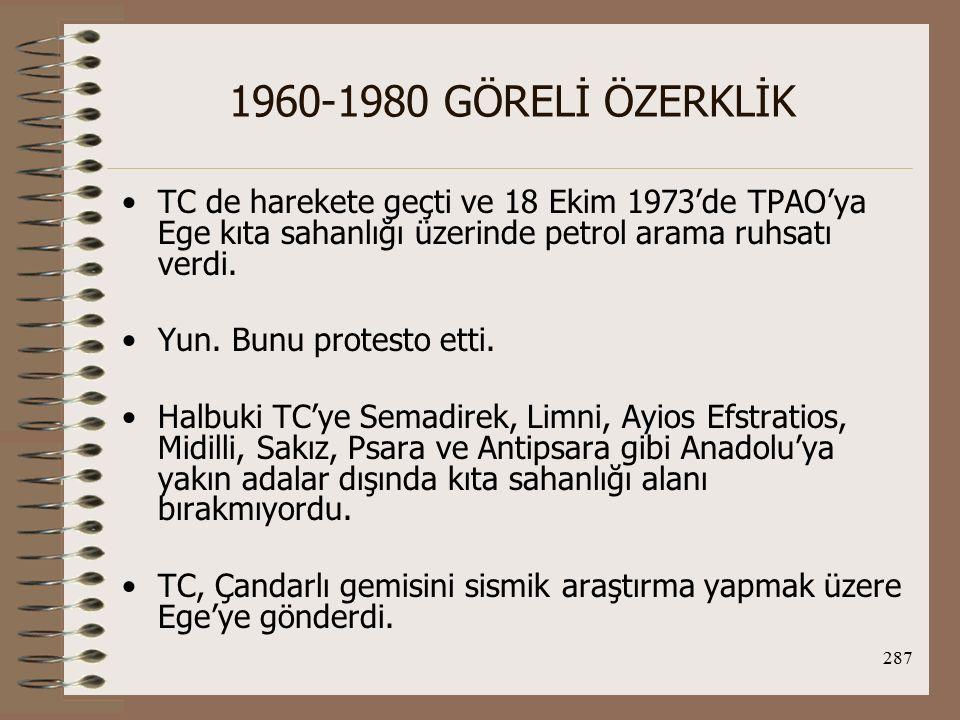 288 1960-1980 GÖRELİ ÖZERKLİK Ankara-Atina arasında karşılıklı protesto ve red ler gidip geldi.