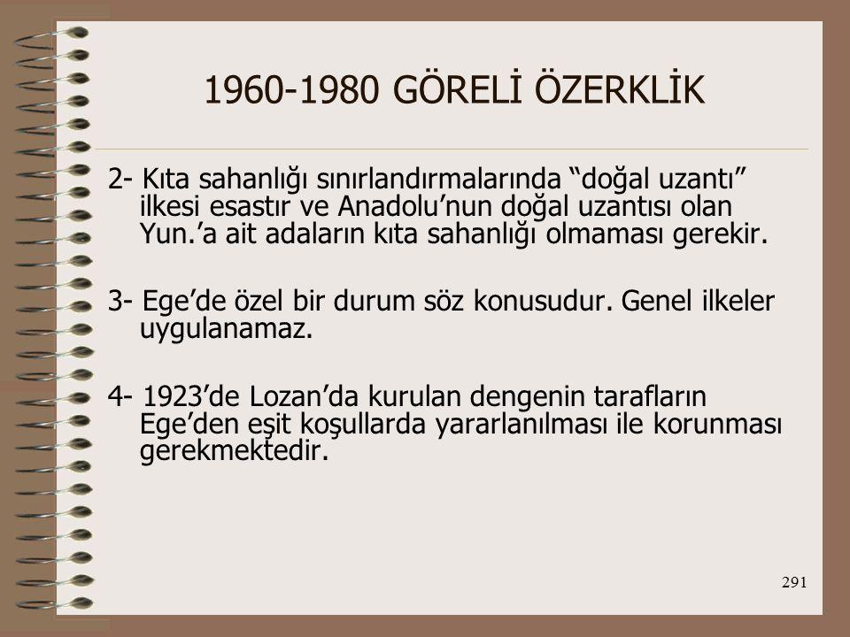 292 1960-1980 GÖRELİ ÖZERKLİK Hava Sahasına İlişkin Sorunlar: Hava sahasının genişliği ve FIR hattı sorunu 1974'den sonra iki ülke arasında gerilim yarattı.