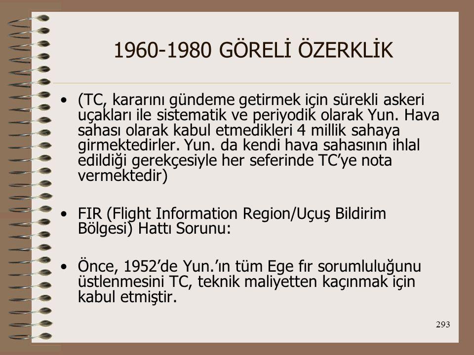 294 1960-1980 GÖRELİ ÖZERKLİK Sonra TC, kendi karasuları sınırındaki Fır hattını Ege'nin ortasına kaydırmıştır.