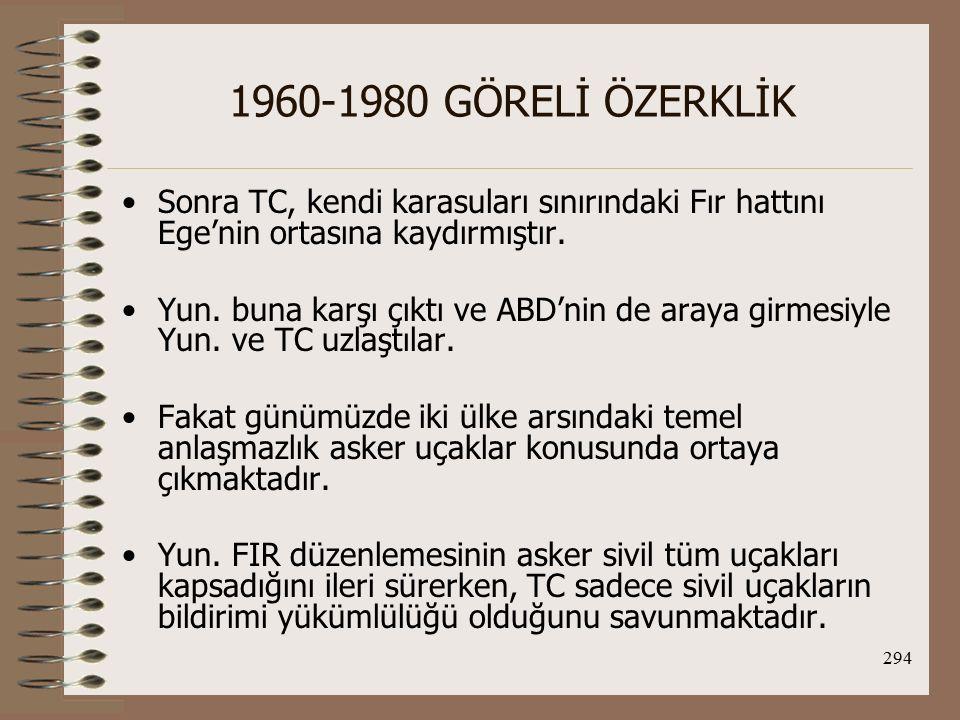 295 1960-1980 GÖRELİ ÖZERKLİK TC, askeri uçaklarla ilgili konuların ikili antlaşmalarla düzenlenmesi gerektiğini söylemektedir.