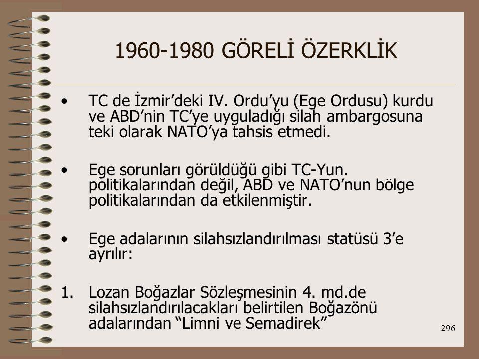 297 1960-1980 GÖRELİ ÖZERKLİK 2.Lozan Antlaşmasının 13.