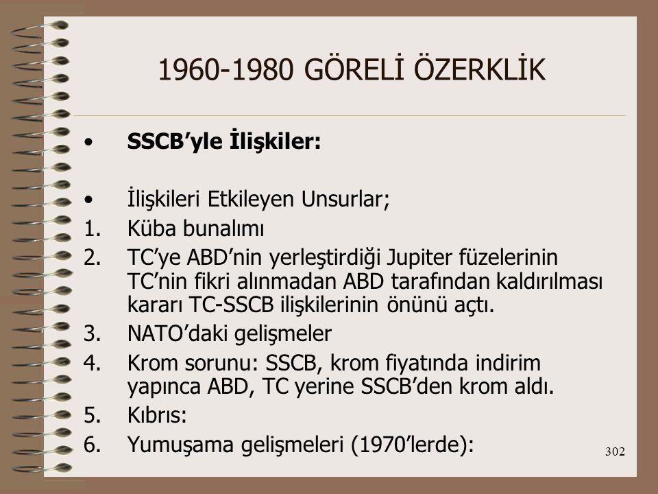 303 1960-1980 GÖRELİ ÖZERKLİK 7.TC'deki sosyo-ekonomik gelişmeler 8.SSCB'nin 1979'daki Afganistan müdahalesi: TC- ABD ilişkilerinin gelişmesini sağladı.