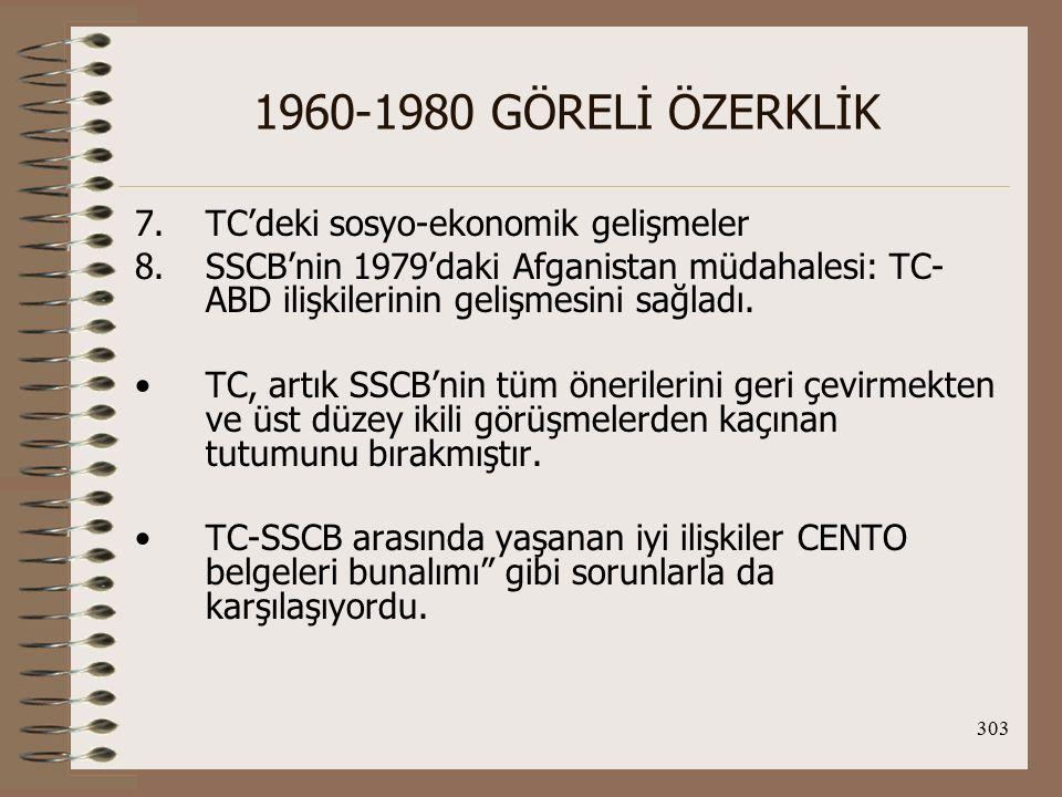 304 1960-1980 GÖRELİ ÖZERKLİK CENTO bunalımı: 1958'de Irak'taki darbenin ardından CENTO belgelerinin (savaş planları ve nükleer çatışmada alınacak önlemleri içeriyordu) SSCB tarafından yayınlanmasıdır.