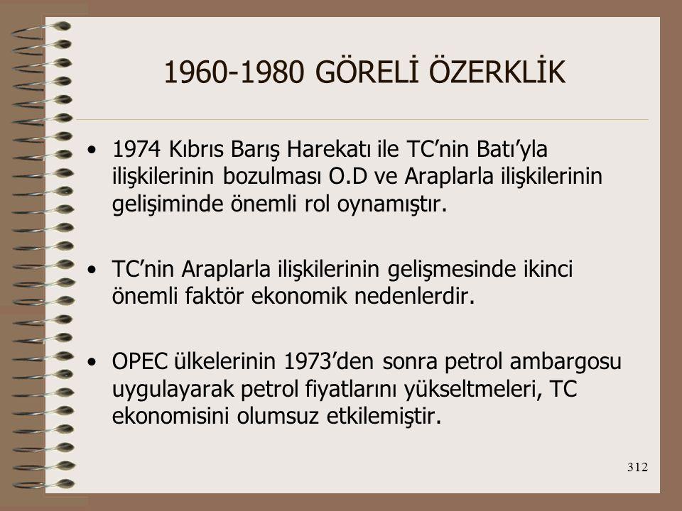 313 1960-1980 GÖRELİ ÖZERKLİK Hükümet, Arap ülkeleriyle ilişkilerini geliştirerek hem petrol sıkıntısını azaltmayı hem de ticareti geliştirmeyi hedefliyordu.