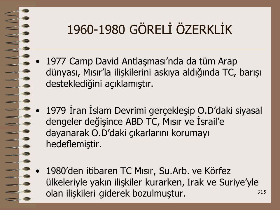 316 1960-1980 GÖRELİ ÖZERKLİK Arap Olmayan Ülkelerle İlişkiler: 1967 Arap-İsrail Savaşı'nda Arap yanlısı tavırlarının nedenleri: 1.Kıbrıs konusunda yaşanan gelişmelerde Batı'nın olumsuz tavrı 2.TC'deki bazı partilerin iç politikada çıkar sağlamak düşüncesiyle Arap ülkeleriyle yakınlaşmaya önem vermesi