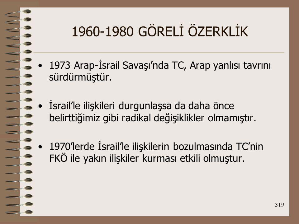 320 1960-1980 GÖRELİ ÖZERKLİK İran'la İlişkiler genelde olumlu olmuştur.