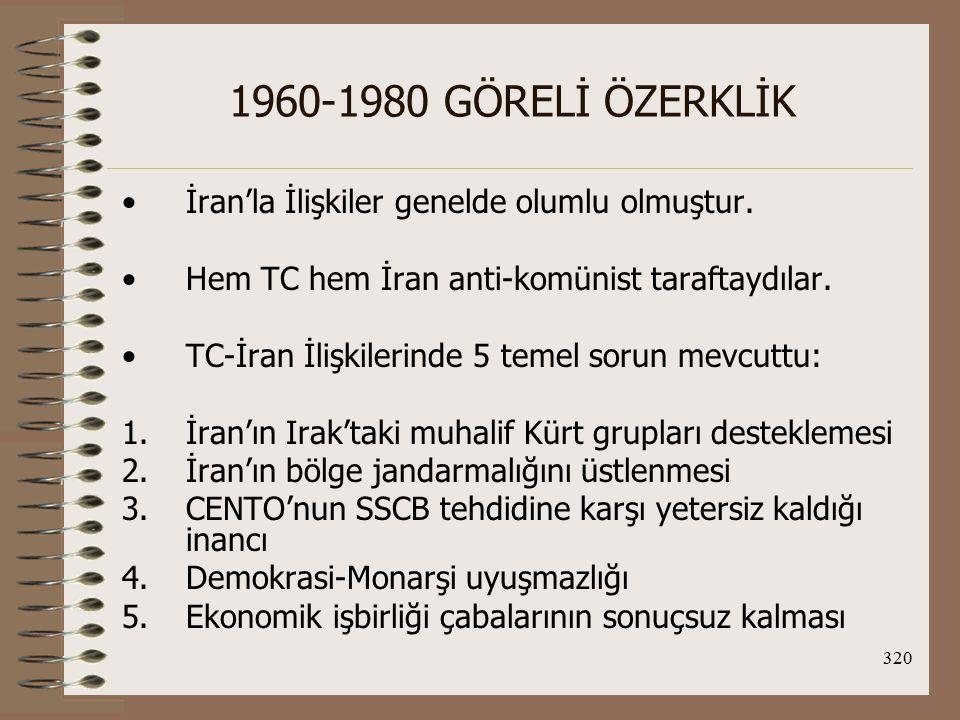 321 1960-1980 GÖRELİ ÖZERKLİK İran'daki rejimin değişmesiyle Cum.
