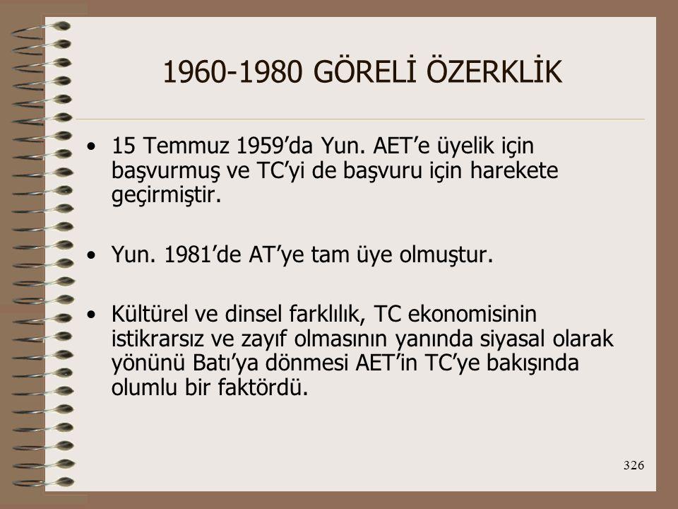 327 1960-1980 GÖRELİ ÖZERKLİK 12 Eylül 1963 Ortaklık Antlaşması'nın imzalanmasına kadar geçen sürede ilişkilerin gidişatını etkileyen olumlu ve olumsuz bazı gelişmeler şunlardır: Olumsuz gelişmeler; 1.9 Temmuz 1961'de Yun ile AET arasında Ortaklık An.