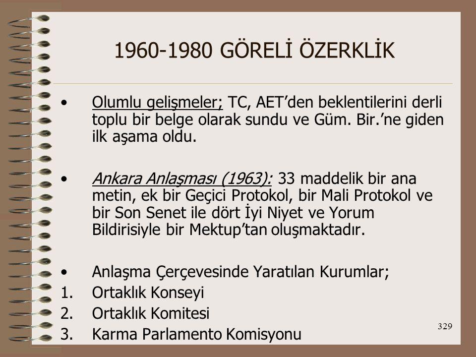 330 1960-1980 GÖRELİ ÖZERKLİK 1960-1980 döneminde AET-TC ilişkilerinde Hazırlık dönemi ve Geçiş dönemi olurken 1995'de TC ile Gümrük Birliği An.