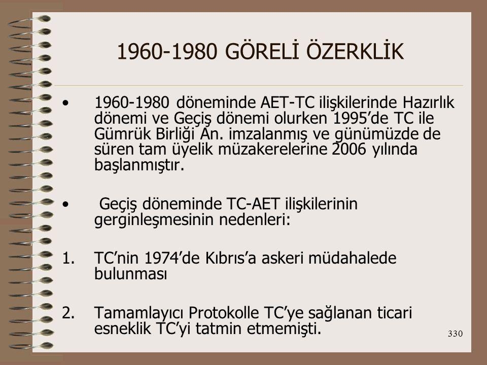 331 1960-1980 GÖRELİ ÖZERKLİK 3.Türk işçilerinin serbest dolaşımı konusundaki belirsizlik 4.Dış eko.