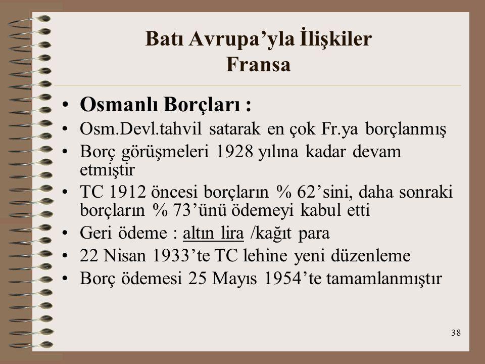 39 Batı Avrupa'yla İlişkiler Fransa Sancak (Hatay-1936-Atatürk) Sorunu 1936'da Hatay adı Atatürk tarafından verildi(Türk kimliğine vurgu yapmak için) Mondros imzalandığında Sancak Osmanlıların 9 Kasımda 7.