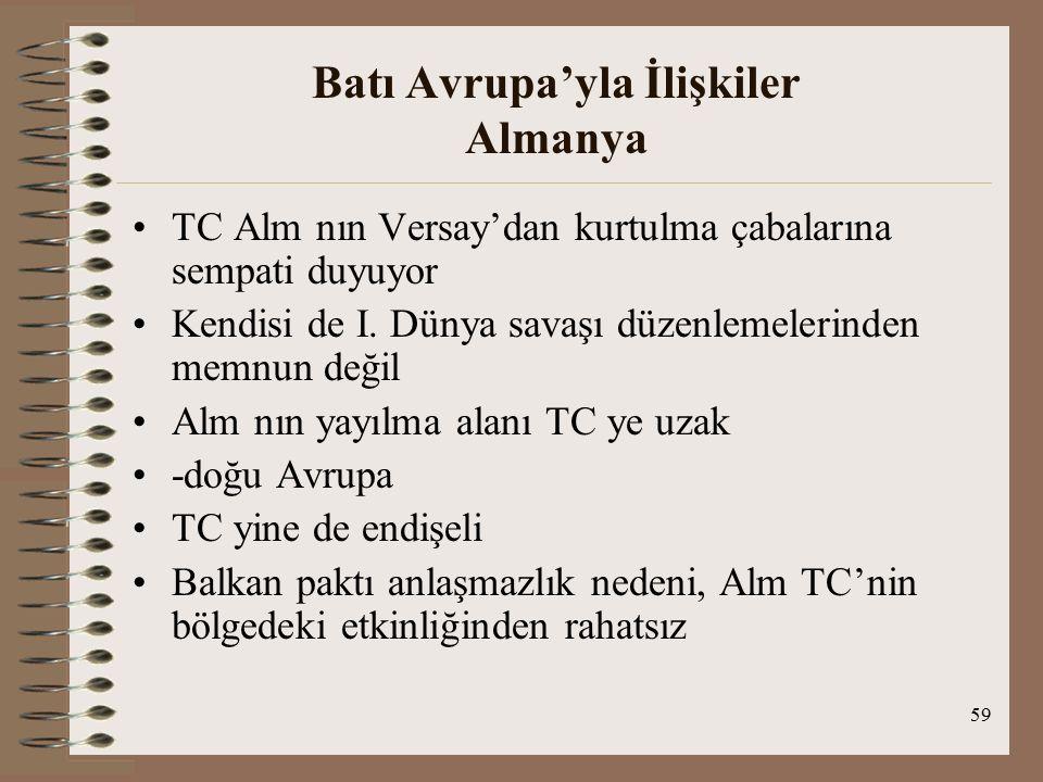 60 Batı Avrupa'yla İlişkiler Almanya Montrö sözleşmesi – Alm rahatsızlığı(TC-İng yakınl) Alm Lozan'a çağırılmadı-rahatsızlık Boğazlarla ilgili olarak TC-Alm antlaşması (gerçekleşmiyor) TC Alm yı doğrudan karşısına alacak girişimden kaçındı Alm TC yi yanına çekmek ve İng ve Fr ile yakınlaşmasını önlemeye çalışıyordu Alm TC yi de Hatay nedeniyle revizyonist olarak görüyor Ribbentrop-Menemencioğlu görüşmesi – 1938 TC yi revizyonist devletler yanına davet ediyor Tarafsızlık anl önerisi (-)