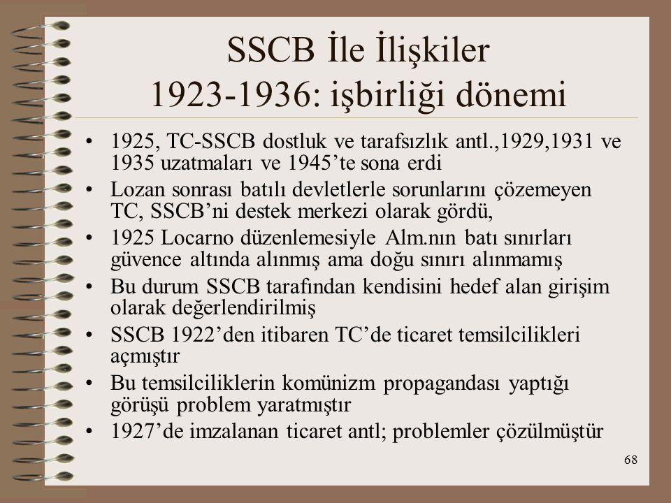 69 SSCB İle İlişkiler 1923-1936: işbirliği dönemi TC'nin 5.